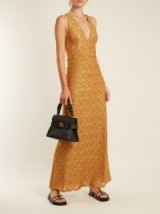 MISSONI Wave-knit V-neck dress ~ long metallic gold dresses
