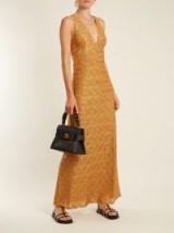 MISSONI Wave-knit V-neck dress ~ long metallic gold dresses