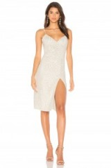 X by NBD MARISSA DRESS – beaded front slit strappy dresses