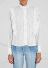 ISABEL MARANT ÉTOILE Yann ruffle-trimmed cotton shirt ~ romantic ruffled high neck blouses