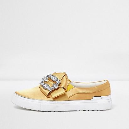 River Island Yellow satin diamante embellished plimsolls #luxe #flats