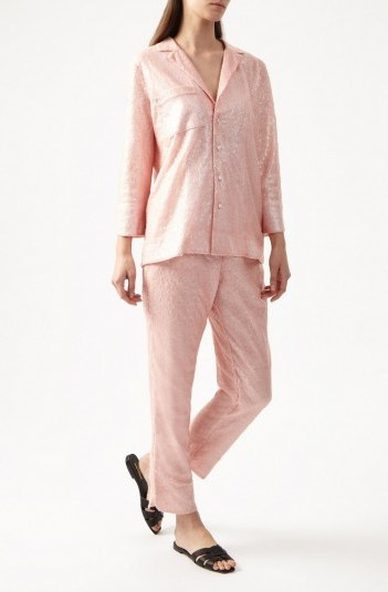 YOLKE Pink Sequin Suit – luxury loungewear - flipped