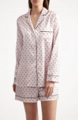 YOLKE Ladybird Silk Shorts Set – luxury nightwear – sleepwear sets