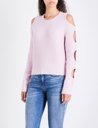 ZOE JORDAN Galen wool and cashmere-blend jumper – flamingo-pink cut out jumpers