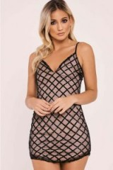 In The Style AADA BLACK DIAMOND SEQUIN MESH PLUNGE DRESS – mini dresses – party fashion