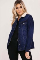 IN THE STYLE ABRI DARK WASH OVERSIZED SHEARLING DENIM JACKET