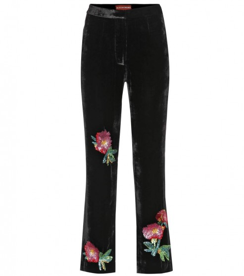 ALEXACHUNG Floral-embroidered velvet trousers