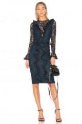 Alexis MARIETTE DRESS ~ navy-blue ruffled lace dresses ~ evening fashion