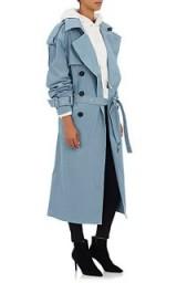 Hailey Baldwin powder-blue mac out in Milan, AMBUSH Convertible Cotton-Blend Trench Coat, during Fashion Week, September 2017. Celebrity coats | models style | star fashion