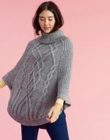 JOULES ANALISE CABLE KNIT PONCHO / grey knitted ponchos