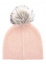 MINT VELVET APRICOT FLUFFY YARN POMPOM HAT ~ knitted pom pom hats ~ knitted accessories