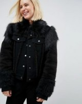 ASOS Denim Jacket in Washed Black with Faux Fur Panels – furry jackets