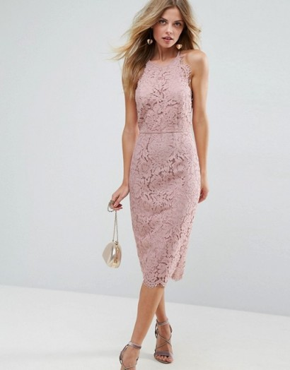 ASOS Scallop Pinny Lace Pencil Midi Dress / nude floral dresses