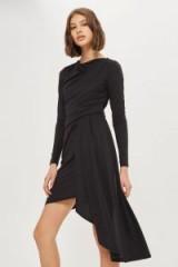 Topshop Asymmetric Crepe Drape Dress | black draped dresses | LBD