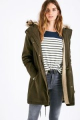 JACK WILLS BAGENDON SHERPA LINED PARKA / olive-green parkas / casual winter coats
