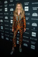 Gigi Hadid wearing Dolce & Gabbana at the Harper'z Bazaar Icons Party, part of New York Fashion Week, September 2017. Celebrity outfits ~ star fashion