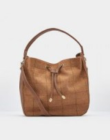JOULES BEAU TWEED SHOULDER BAG / tan check hobo bags