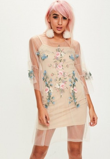 missguided beige mesh embroidered dress / sheer floral dresses - flipped