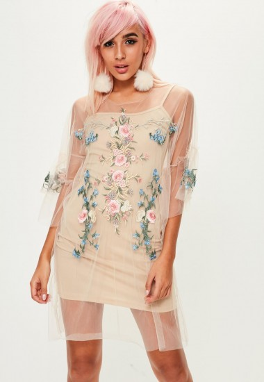 missguided beige mesh embroidered dress / sheer floral dresses