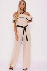 BILLIE FAIERS NUDE RUFFLE BARDOT PALAZZO JUMPSUIT ~ off shoulder jumpsuits