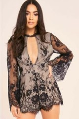 BINKY BLACK LACE HIGH NECK FLUTE SLEEVE PLAYSUIT ~ sheer sleeved playsuits