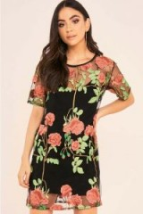 BINKY BLACK ROSE EMBROIDERED MESH TEE DRESS ~ semi sheer floral party dresses