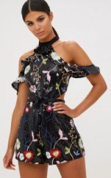 PRETTY LITTLE THING BLACK COLD SHOULDER FLORAL EMBROIDERED SEQUIN PLAYSUIT – going out playsuits