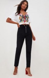 PRETTY LITTLE THING BLACK CORD ZIP FRONT TROUSERS
