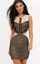 PRETTY LITTLE THING BLACK CROCHET LACE MESH PANEL BODYCON DRESS – going out dresses