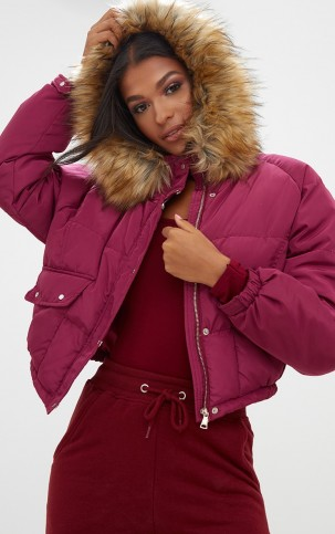 PRETTY LITTLE THING BERRY CROPPED PUFFER JACKET WITH FAUX FUR HOOD – hooded jackets