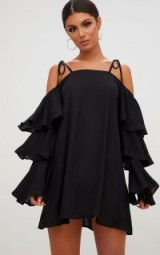 PRETTY LITTLE THING BLACK TRIPLE SLEEVE SHIFT DRESS