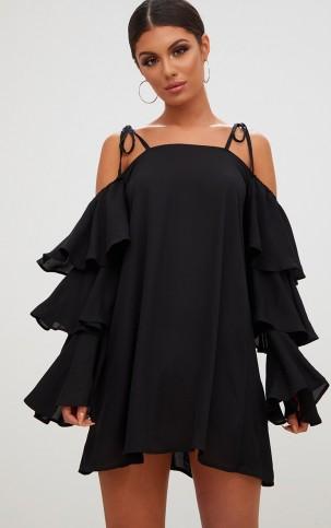 PRETTY LITTLE THING BLACK TRIPLE SLEEVE SHIFT DRESS