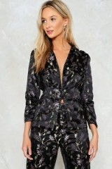Nasty Gal Blossom of Your Love Satin Jacket ~ black floral evening jackets