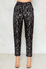 Nasty Gal Blossom of Your Love Satin Pants ~ black floral trousers