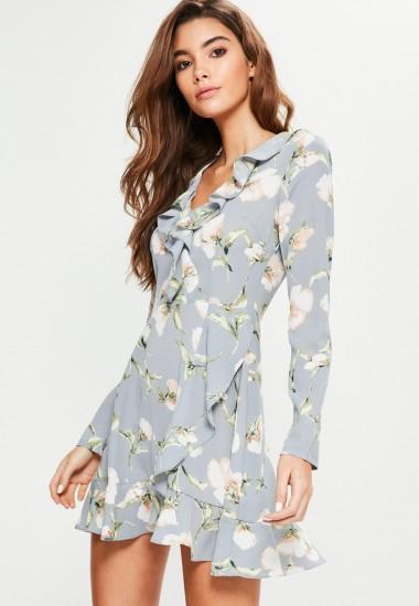 Missguided blue floral ruffle tea dress / ruffled dresses