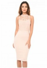 AX PARIS BLUSH HIGH NECK BODYCON DRESS – pale pink lace party dresses