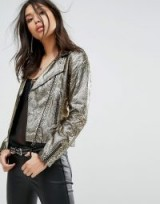 Bolongaro Trevor White Gold Biker Leather Jacket | metallic moto jackets