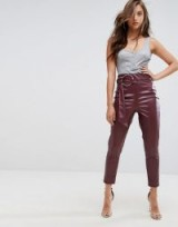 Boohoo Leather Look Buckle Belted Trouser | plum high waist tapered trousers