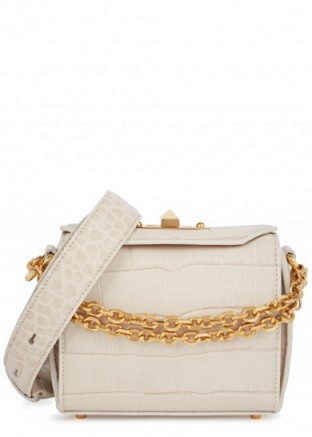 ALEXANDER MCQUEEN Box Bag 15 ivory crocodile-effect leather bag / small desirable bags