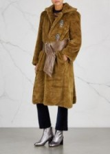 TOGA PULLA Brown embellished faux fur coat | luxe winter coats | statement outerwear
