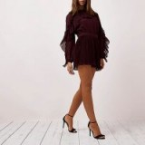 River Island Burgundy long sleeve pleated frill playsuit ~ dark red playsuits ~ party fashion