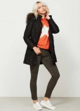 MINT VELVET CAMOUFLAGE PATCH POCKET PARKA / khaki parkas / hooded winter coats