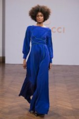 Capucci at Milan, Spring 2018 Ready To Wear ~ catwalk models ~ designer fashion ~ blue wide leg jumpsuits