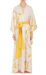 CARINE GILSON Orchid-Print Silk Kimono Robe | oriental style sash belted robes