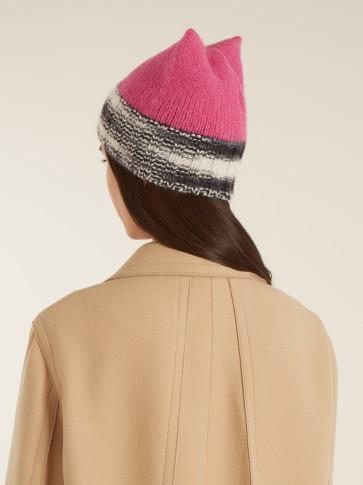 MISSONI Cat-ear alpaca-blend beanie hat / cute pink beanies / knitted hats / accessories