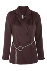 TOPSHOP Chain Belted Jacket – burgundy jackets