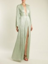 MARIA LUCIA HOHAN Charlize kimono-sleeve pleated tulle gown ~ metallic mint-green gowns