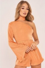CHARLOTTE CROSBY ROSE GOLD ONE SHOULDER FLARED SLEEVE PLAYSUIT – choker playsuits – party fashion