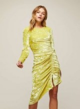 MISS SELFRIDGE Chartreusse Velvet Shift Dress – ruched, asymmetric hemline dresses – going out fashion