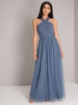 CHI CHI ALESSIA DRESS ~ blue tulle maxi dresses